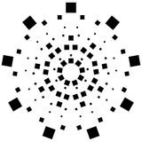 Circular element made of squares. Squares rotating. Abstract mon Stock Photos