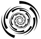 Circular element with random radiating lines. Radial circles spi Royalty Free Stock Image