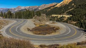 Circular elevated view of Colorado State Highway 550, known as royalty free stock photography