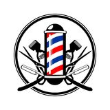 Circular Emblem Barber& x27;s Pole with Scissor, Razor And Old Clippers. Symbol Vector Graphic Badge Design Royalty Free Stock Photography