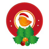 Circular emblem of bird with christmas hat and holly leaves. Vector illustration Stock Photo