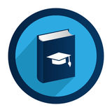 Circular emblem with book with graduation hat Royalty Free Stock Image