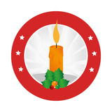 Circular emblem with christmas candle and holly leaves Stock Image