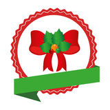 Circular emblem with christmas red bow with holly. Vector illustration Royalty Free Stock Photography