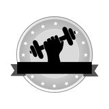 Circular emblem with decorative stars and hand holding a dumbbell ribbon Stock Photos