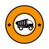 Circular emblem with dump truck Stock Image