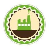 Circular emblem of factory and smoke contamination. Vector illustration Royalty Free Stock Image