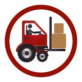 Circular emblem with forklift truck with forks Royalty Free Stock Photos
