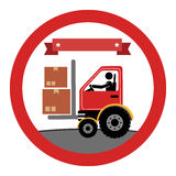 Circular emblem with forklift truck with forksand ribbon on top Royalty Free Stock Photography