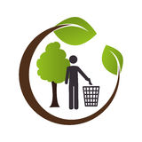 Circular emblem formed by branch and tree with man and trash container Stock Image