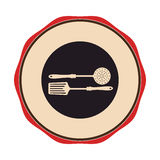 Circular emblem with frying spoon set Royalty Free Stock Images