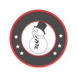 Circular emblem with grayscale snowman Royalty Free Stock Images