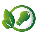 Circular emblem with leaves and bulb light Stock Photography