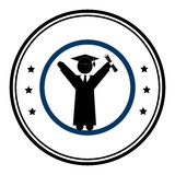 Circular emblem with man with graduation outfit Royalty Free Stock Photography