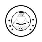 Circular emblem with monochrome santa claus Royalty Free Stock Image