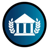 Circular emblem with parthenon and olive branchs Stock Image