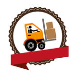 Circular emblem with ribbon and forklift truck with forks Royalty Free Stock Photo