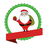 Circular emblem with ribbon and santa claus with bag of gifts Royalty Free Stock Images