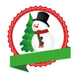 Circular emblem with ribbon and snowman and christmas tree Royalty Free Stock Photos