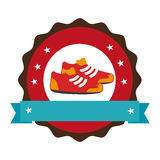 Circular emblem with ribbon and sports shoes Royalty Free Stock Photo