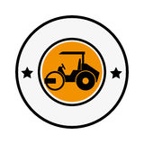 Circular emblem with road roller Stock Images