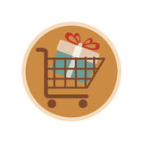 Circular emblem with shopping cart with gift Royalty Free Stock Photo
