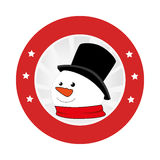 Circular emblem with snowman face Stock Photo