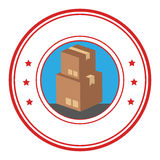 Circular emblem with stacking package box Royalty Free Stock Photography