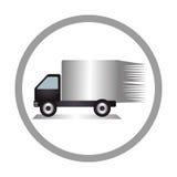 Circular emblem of truck with wagon Stock Image