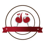 Circular emblem with wine glasses and banner Royalty Free Stock Photos