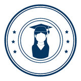 Circular emblem with woman with graduation outfit Stock Image