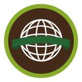 Circular emblem with world eco sketch Stock Image