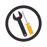 Circular emblem with wrench and screwdriver Stock Photography