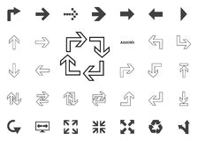 Circular en icono cuadrado de las flechas Iconos del ejemplo de la flecha fijados fotos de archivo libres de regalías