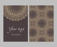 Circular ethnic pattern card. Double-sided card ethnic symmetrical circular pattern in shades of brown, pattern vector illustration Royalty Free Stock Photography