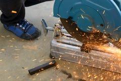 Circular fiber blade sawing machine royalty free stock photo
