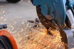 Circular fiber blade sawing machine stock photo