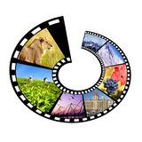 Circular film strip travel concept. Circular film strip with multiple travel destinies.Isolated Royalty Free Stock Photography