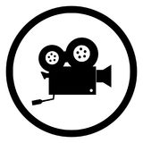 Circular, flat, black and white, vintage film camera icon. Isolated on white Stock Image