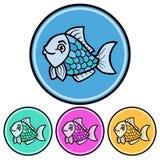 Circular, flat cartoon fish icon design. Four variations. Isolated on white. Circular, flat cartoon fish icon design. Four variations. Isolated on a white Royalty Free Stock Photography