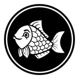 Circular, flat cartoon fish icon design. Monochrome design. Isolated on white Royalty Free Stock Image