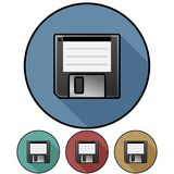 Circular, flat design floppy disk icon. Casting a shadow. Four variations. Isolated on white Stock Photo