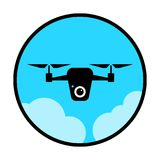 Circular, flat drone icon. Black on light blue. In the clouds. Isolated on white