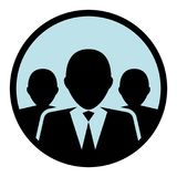 Circular, flat group/team of business people silhouette. Light blue background. Isolated on white Royalty Free Stock Photos