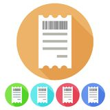 Circular, flat receipt with a bar code icon. Five variations. Isolated on white Stock Photos