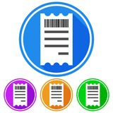 Circular, flat receipt with a bar code icon. Four variations. White outline. Isolated on white Royalty Free Stock Image