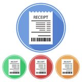 Circular, flat receipt icon with a bar code. Casting a shadow. Four variations. Isolated on white Royalty Free Stock Photo