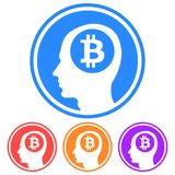 Circular, flat thinking about bitcoin icon. Profile head silhouette with a bitcoin logo inside. Four variations stock illustration
