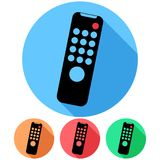 Circular, flat tv remote tilted to the right icon. Four variations. Isolated on white Stock Image