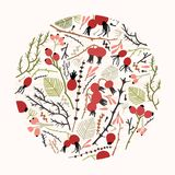 Circular floral decoration or natural decorative design element consisted of tree branches, twigs, leaves and berries or. Rose hips on white background Royalty Free Illustration